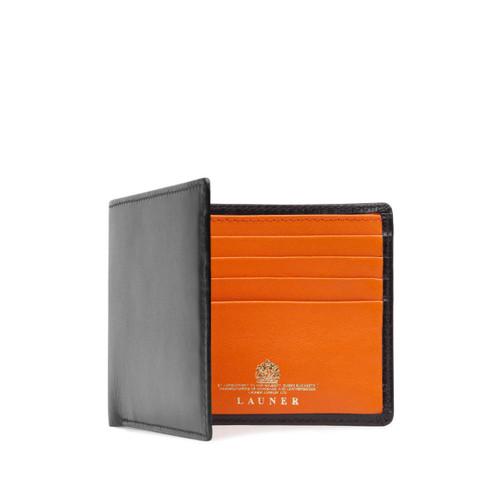 Launer Eight Credit Card Wallet, Black/Orange