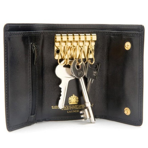 Launer Key Wallet (Zipper Pocket), Black/Black
