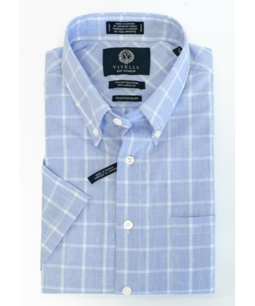 Viyella Cotton and Linen Blue Windowpane Shirt