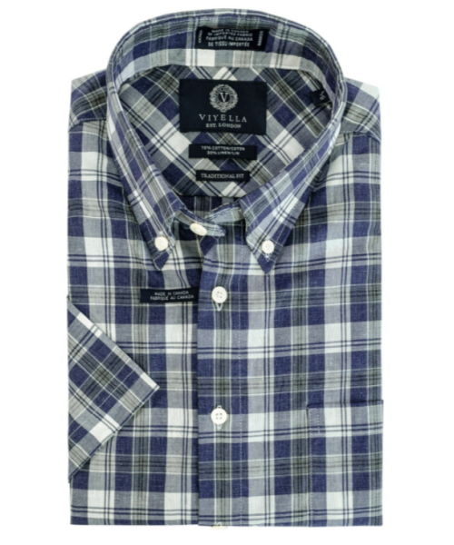 Viyella Cotton and Linen Blue Plaid Shirt