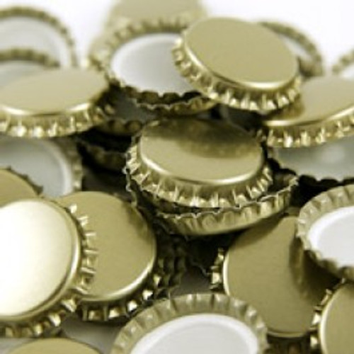 29mm Gold Euro Bottle Caps - 100 Pack