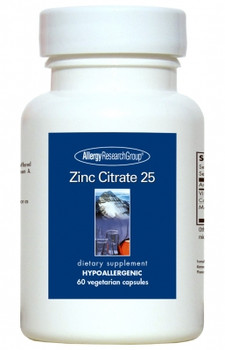 Zinc Citrate 25 mg 60 Vegetarian Caps (Allergy Research Group)