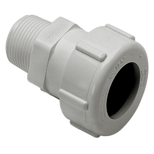 """1 1/2"""" IPS PVC Compression X MPT Adapter (White)"""