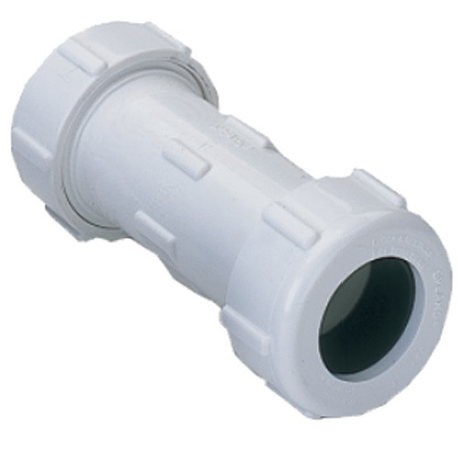 Easy-Thread Compression coupling designed for quick connections, system modifications or repair of PVC pipes. Compression by compression ends fit over iron pipe size PVC pipe. Coupling is NSF Certified for Potable Water Use and is rated for Full Service 200 PSI @ 73F.