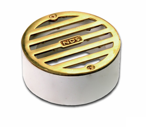 """NDS  3"""" Round Polished Brass Grate w/PVC Collar"""