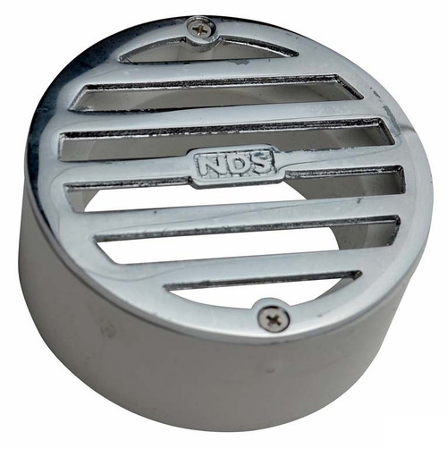 """NDS  3"""" Round Polished Chrome Grate w/PVC Collar"""
