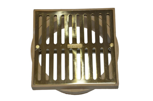 """NDS  6"""" Square Polished Brass Grate w/Styrene Adaptor"""