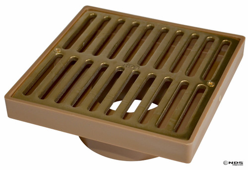 """NDS  6"""" Square Polished Brass Grate w/Styrene Adaptor NDS923PB"""