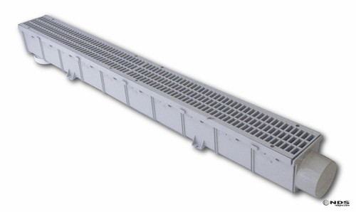 """NDS Pro Series 3"""" x 1 Meter Channel Drain & Grate Kit (Box of 10)"""