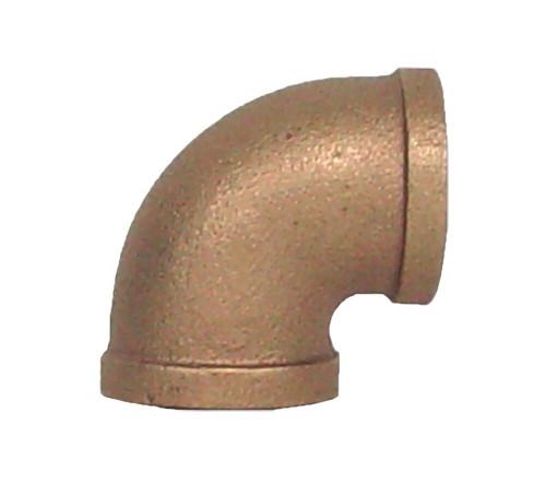 """1/2"""" Bronze 90 Elbow (1/4) (FPT x FPT)"""