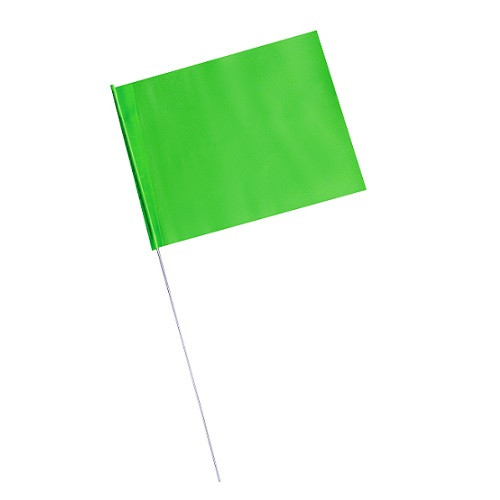 "4"" x 5"" Marking Flags Fluorescent Green - 30"" Wire Staff (100)"