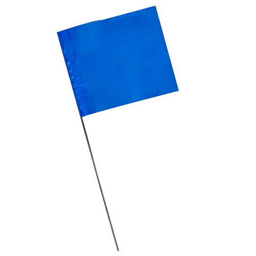 """4"""" x 5"""" Marking Flags Blue - 30"""" Wire Staff (100)"""