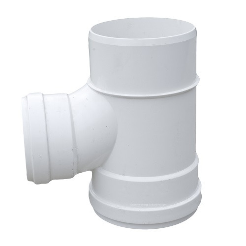 "8"" x 6"" PVC SDR35 Gasket Joint Spigot Sanitary Tee (G x G x Sp)"