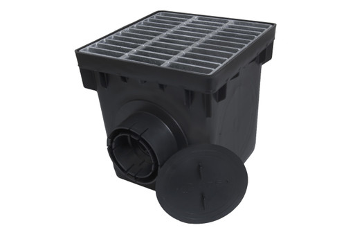 """NDS 12"""" Two Hole Catch Basin Kit w/ Galvanized Metal Grate"""