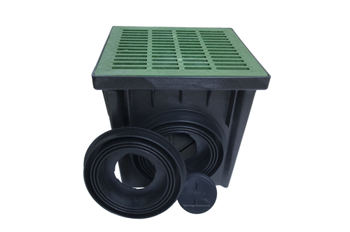 "NDS 24"" Two Hole Catch Basin Kit w/ Green Grate"
