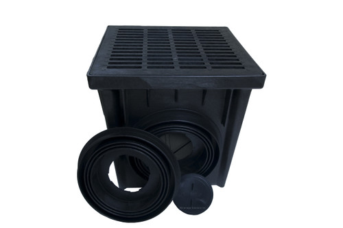 """NDS 24"""" Two Hole Catch Basin Kit w/ Black Grate"""