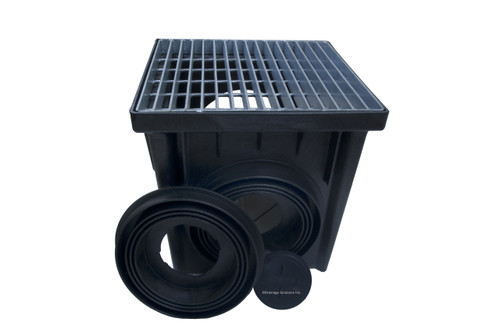 "NDS 24"" Two Hole Catch Basin Kit w/ Galvanized Metal Grate"