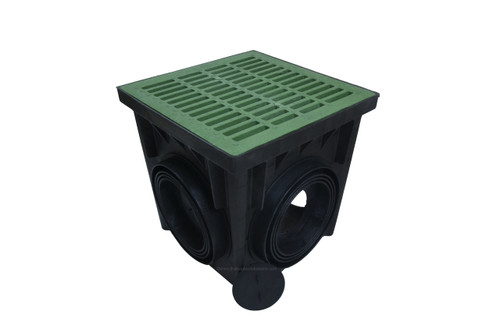 "NDS 24"" Four Hole Catch Basin Kit w/ Green Grate"