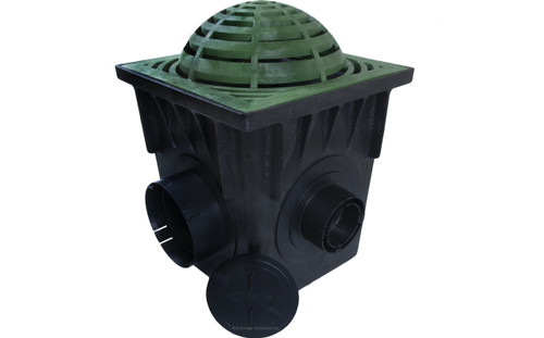 "NDS 18"" Four Hole Catch Basin Kit w/ Green Atrium Grate"