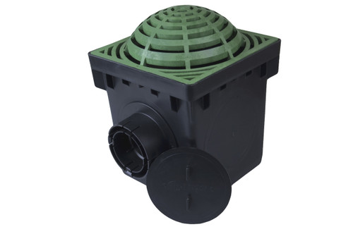 """NDS 9"""" Two Hole Catch Basin Kit w/ Green Atrium Grate"""