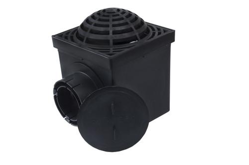 "NDS 9"" Two Hole Catch Basin Kit w/ Black Atrium Grate"