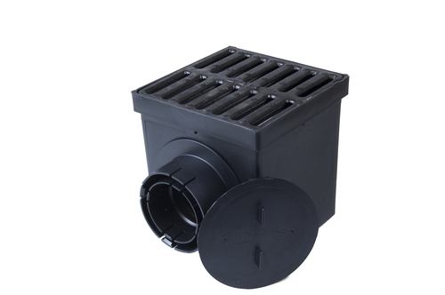 """NDS 9"""" Two Hole Catch Basin Kit w/ Cast Iron Grate"""