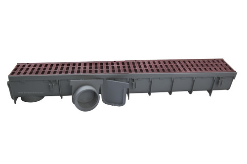 "NDS Pro Series 5"" x 1 Meter Deep Profile Channel Drain Kit (Brick Red)"
