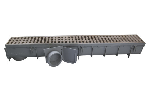 """NDS Pro Series 5"""" x 1 Meter Deep Profile Channel Drain Kit (Sand)"""