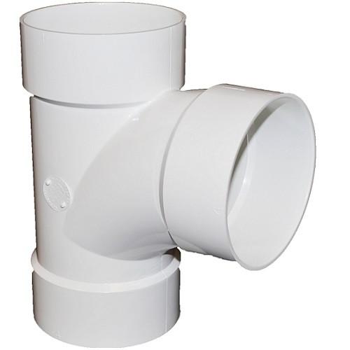 "8"" x 8"" x 4"" PVC SDR35 Solvent Weld Sanitary Tee (S x S x S)"