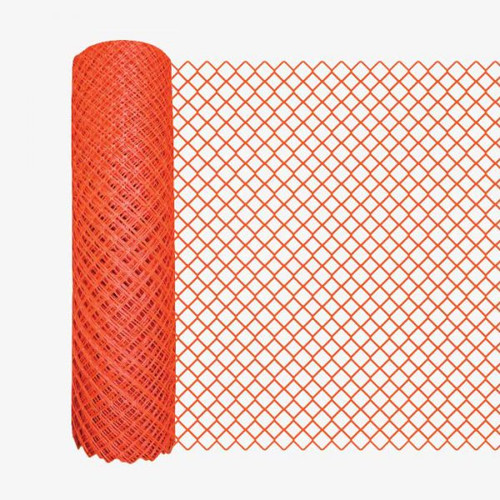 4' x 100' Orange Safety Barrier Fence - Diamond Mesh
