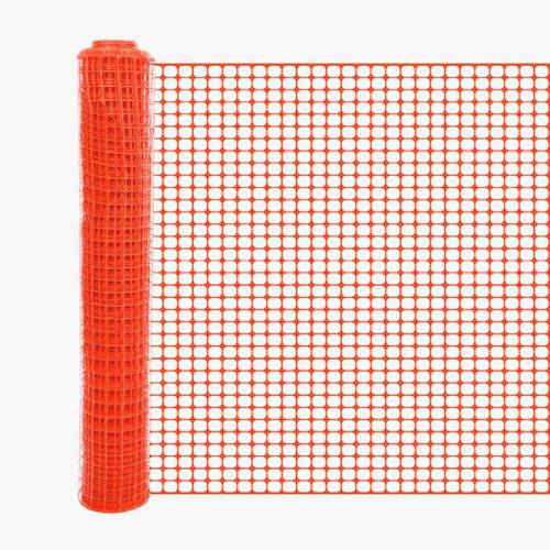 4' x 100' Orange Safety Barrier Fence - Square Mesh