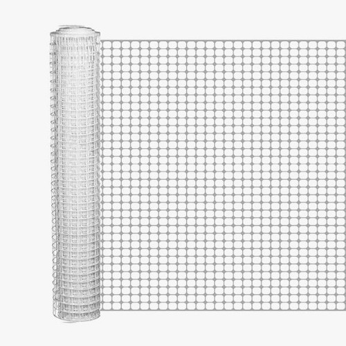 4' x 50' White Safety Barrier Fence - Square Mesh