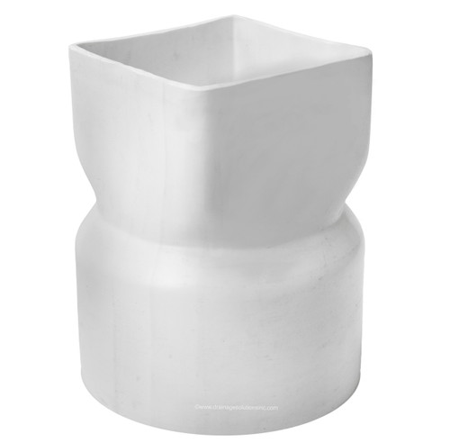 """PVC 8"""" x 8"""" x 10"""" IPS Downspout Adapter (Centered) (DS x Hub)"""