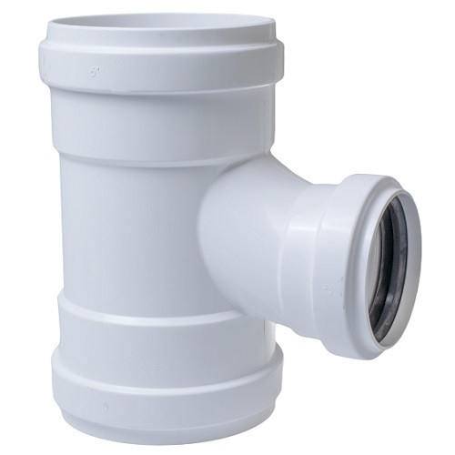 "6"" x 6"" x 4"" PVC SDR26 Heavy Wall GJ Sanitary Tee (G x G x G)"