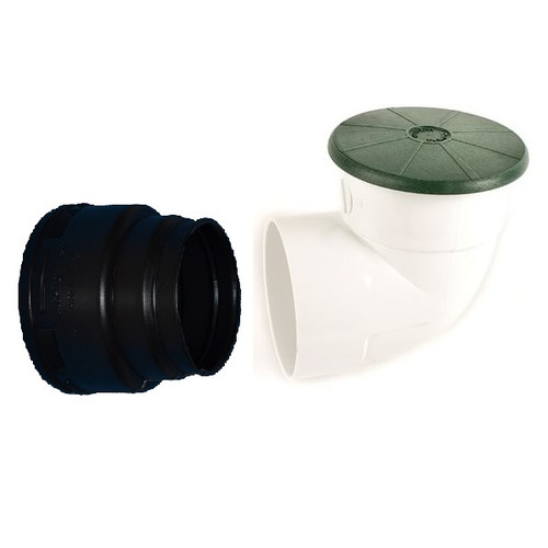 """TEMPO 4"""" Pop-Up Emitter, SDR35 Elbow & Corrugated Adapter (SPRING LOADED)"""
