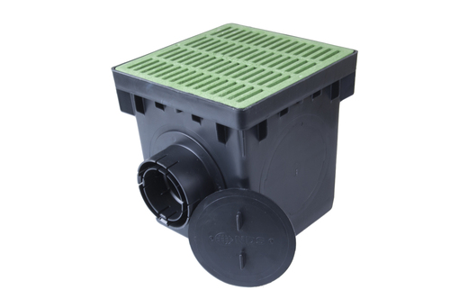 """NDS 12"""" Three Hole Catch Basin Kit w/ Green Grate"""