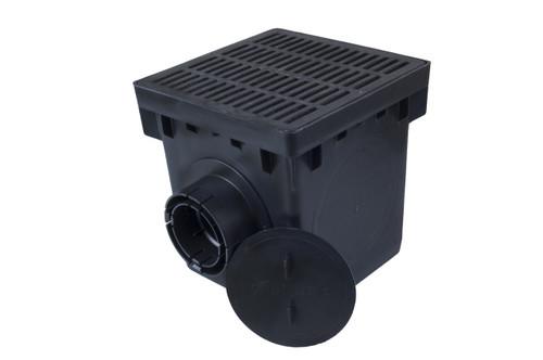 "NDS 12"" Four Hole Catch Basin Kit w/ Black Grate"