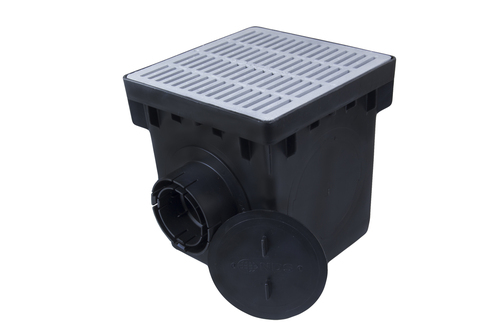 """NDS 12"""" Four Hole Catch Basin Kit w/ Gray Grate"""