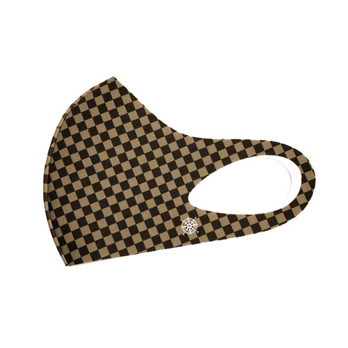 Pete Huntington Mask - Small Squares (Brown)