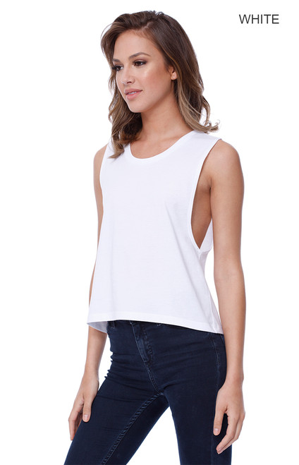 1151 - Women's Cotton Muscle Crop Tee