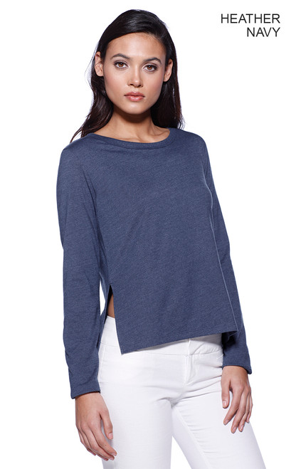 1471 - Women's CVC High Low Long Sleeve Top