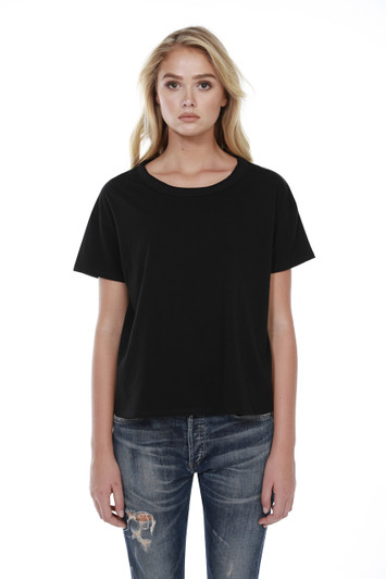 44c94a993e9b2a 1017 - Women's Cotton Raw Neck Boxy Tee