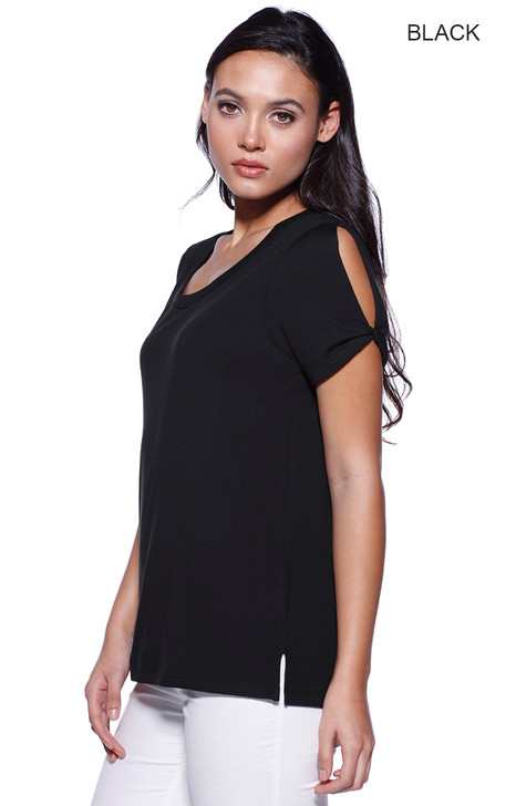 1414 - Women's CVC Twist Sleeve Top
