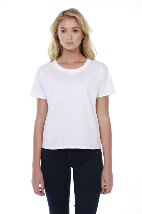 1017 - Women's Cotton Raw Neck Boxy Tee