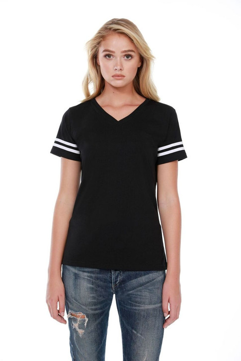 1433 - Women's Varsity with Stripes Tee