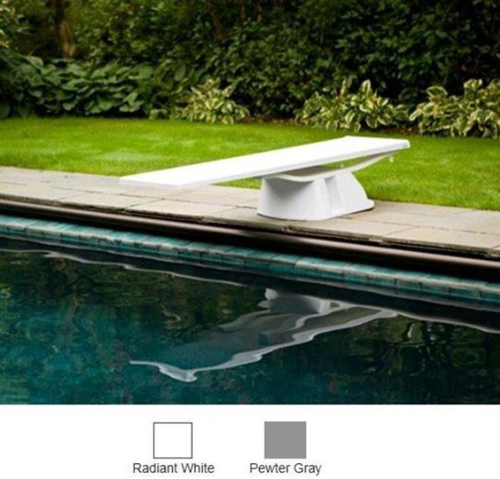 Brilliant white fibreglass diving board