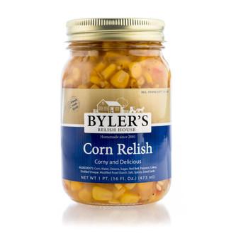 Old-fashioned corn relish in 16 oz glass jar