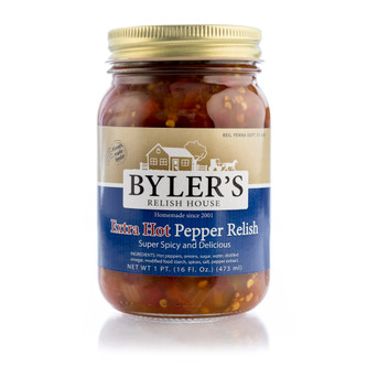 Extra spicy relish with fresh jalapeño peppers, onions, and some habañero peppers