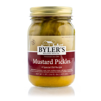 Sweet and tangy pickle spear in a 16-oz glass jar