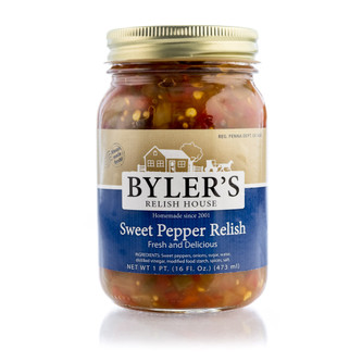 This delicious relish is made with fresh sweet peppers. With just the right amount of peppers, onions, and spices, this condiment tastes great on everything you try it on.